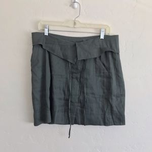 Vince Skirts - Vince Olive Green Fold Over Button Down Skirt 10